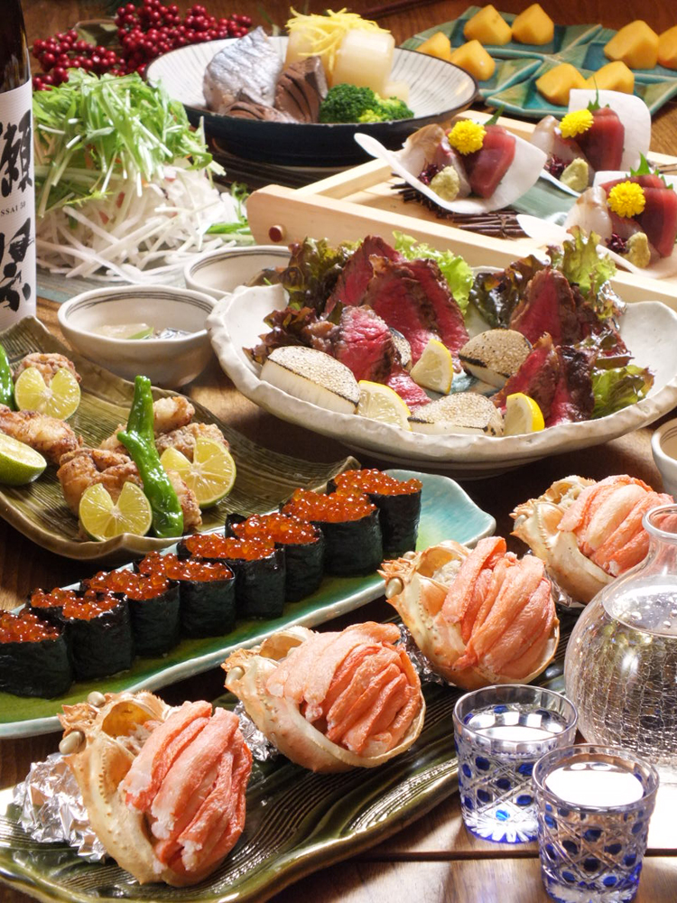 【贅沢】蟹の甲羅味噌焼きと飛騨牛コース飲み放題付き税込7000円