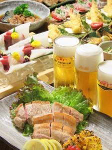 西新宿個室居酒屋はたごの、松阪豚と三種の生ドライで夏宴会!!