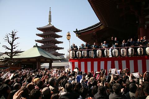 2月3日は浅草寺で節分(福聚の舞)